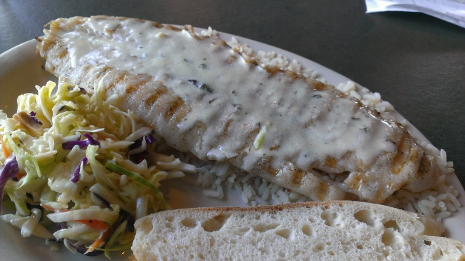 Grilled White Fish with Garlic Butter Sauce