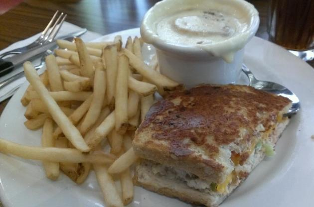 Lunch Special Half a Tuna Melt Sandwich, French Onion Soup and French Fries.  Very French!